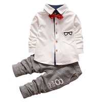 Wholesale Glass Bow Tie - Wholesale- 0-4 Years Baby Boys Girls 2 Pieces Kids Children Glasses Bow Tie T-shirts + Pants Clothing Cotton Suit Sets