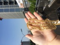 cadenas sólidas para hombre al por mayor-Collar de declaración de 23.58 pulgadas Pesado para hombre 24K Oro sólido GF Acabado grueso Cadena de collar de eslabones cubanos de Miami