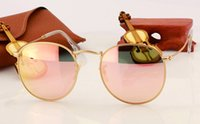 Wholesale Vintage Round Sunglasses Gold - Hot sale summer eyewear vintage women sunglasses round designer pink glasses men UV400 protection gold frame 51mm case box