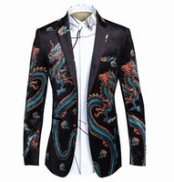 Wholesale Chinese Style Coat Men - Men Dragon Pattern Print Suit Blazer Top Quality Jacket Coats Slim Fit Chinese Style Clothes Male Soft Fabric Costume