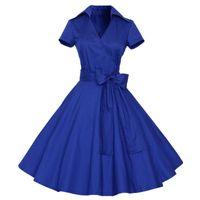 Wholesale big polka dot women dress - Women Ladies Hepburn Style Summer Dress 1950s 60s Polka Dot Short Sleeve Rockabilly High Waist Big Swing Tutu Cotton Dresses