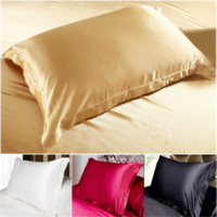 Wholesale China Wholesale Beds - Wholesale- China Double Face Envelope bedding Pillow Case Silk Pillowcase Camel White Black Silk Satin Pillow Case Multiple Colors 48*74