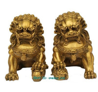 ingrosso leone cinese in bronzo-Grande Coppia Bronzo Cinese Leone Foo Dog Statua Figura Scultura Colore Oro 6.5