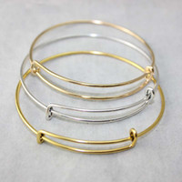 Wholesale 14k Gold Charm Bracelets - New fashion accessories wholesale wire bangle bracelets USA DIY jewelry cable wire bangle adjustable expandable charm love bracelet