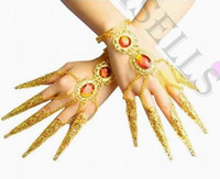 Wholesale Ring Covering Nail - 1pcs women Stage Wear belly dance bracelet costume jewelry Indian dance bangle Avalokitesvara nail sets false nail cover hand ring props