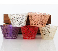 Lace Laser Cut Cupcake Wrapper Clouds Muffin Paper Cup Boîte cadeau de mariage Birthday Party Favor Baby Shower decor