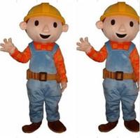 Wholesale Mascot Costume Bob - Custom Bob the Builder Mascot Costumes Adult Size Character Halloween Costume Cartoon Fancy Dress Su