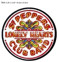 Wholesale 3 quot The Beatles Sgt Pepper s Lonely Hearts Club Band Music Band Woven Iron On Patch MOTIF APPLIQUE Punk Badge
