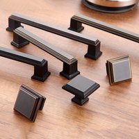 black modern cabinet - Black Square retro Door handle Bronze material drawer pulls Modern simplicity Single hole No fingerprint series Drawer cabinet door hardware