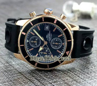 Wholesale Mens Mechanical Chronograph Divers Watches - Super Clone Brand Diver Aeromarine Superocean Heritage 46mm Black Dial VK Quartz Chronograph Mens Watch Rose Gold Rubber Strap New Watches