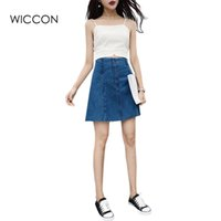 Wholesale Sexy Jeans Skirts - 2017 Summer High Waist Jean Skirt Casual Preppy Style Sexy Lace Up Jeans Skirts Women Vintage Short A-line Denim Skirts WICCON