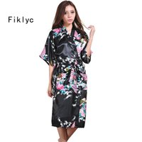 Wholesale Hot Nightwear For Women - Wholesale- brand new long robe satin rayon bathrobe for women kimono sleepwear peacock plus size S-XXL nightwear bridesmaid bathrobes hot