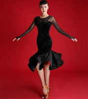 Wholesale Tango Dresses Competition - BLACK 2017 New Latin dance dress sexy women elegant velvet mesh stitching Rumba Tango Sasa perspective Samba ballroom costumes competition