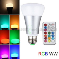 Wholesale E27 Led Remote Base - 10W RGBW Bulb Light 2-in-1 Timing Setting LED Bulb E26 E27 Base A19, 800 lumens, Dimmable Bulb with Remote Control MYY