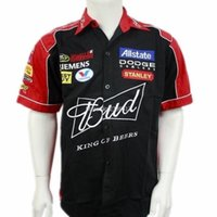 Wholesale Collared Racing Shirts - Wholesale- NEW for man summer club team budweiser shirts F1 race casual suits car overalls off road shirts motocross clothes