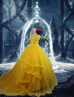 Wholesale Dress Eveni - Latest film Free shipping princess belle costume beauty and the beast cosplay fantasy halloween costumes for women party Evening dress Eveni