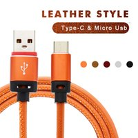 Wholesale Orange Braided Leather - Type-C Leather USB Cable 2.1A Micro USB Premium Leather Braided Aluminum Alloy Fast Charging Phone USB Cable For Samsung HUAWEI HTC LG