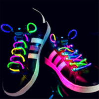 manchette à lacet achat en gros de-2017 Chaud! 1 paire LED Cordons Chaussures Flash Light Up Glow Stick Strap Sholaces Disco Party étanche lavable LEG_70I