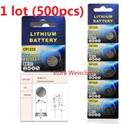 Wholesale Coin Batteries Wholesale - 500pcs 1 lot CR1220 3V lithium li ion button cell battery CR 1220 3 Volt li-ion coin batteries Free Shipping