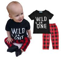 Wholesale Harem Zebra - NWT 2017 INS New cute Baby Girls Boys Outfits Set Summer Sets Boy Cotton Tops Shirts + Harem Pants 2piece sets - Wild One