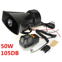 Wholesale Siren Microphone - 50W 12V 5 Sounds Car Motorcycle Truck Vans Mopeds Speaker Loud Siren Horn 105db With MIC Microphone MOT_50X
