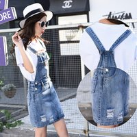 Wholesale Knee Skirt Denim Blue - New 2017 Women's Suspender Denim Skirt Korean Style Jumpsuits Leisure Loose Plus Size Overalls Pocket for Female
