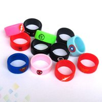 Wholesale Free Cool Logos - Protective Silicone Rubber Rings Vape Band For Atomizers Mods Cool Design Superman Flash Captain America Logo DHL Free