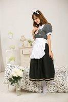 cadılar bayramı kostüm fotoğrafları toptan satış-Real Photo 2017 Siyah Kısa Kollu LoveLive! Minami Kotori Cosplay Kostüm Cadılar Bayramı Sonoda Umi Hizmetçi Üniforma Lolita Elbiseler