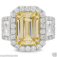Wholesale Emerald Cut Diamond Yellow Gold - 5.94TCW Fancy Yellow Emerald Cut 18K Gold EGL USA Certified Diamond Ring VS2