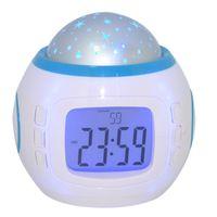 Wholesale Station Clock Calendar Led - Portable LED projector backlit LCD Screen Alarm Clock Weather Station Clock