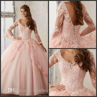 Wholesale Long Baby Blue Prom Dresses - 2017 Long Sleeve Baby Pink Quinceanera Dresses Ball Gown V Neck Lace Appliques Lace up Long Prom Sweet 16 Gowns Quinceanera Dresses