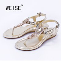 Wholesale Latest Leather Shoes For Women - Wholesale-WEISE Large Size 2016 Latest Fashion Sandals Summer Simple Rhinestone Shoes Shoes For Women Flats Flip Flops Wedges Sandal