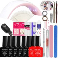 Nail Art Manicure Tool 24W Led Lampada + 6 colore 10ml UV Led Gel base rivestimento in poliestere con punta francese Remover Practice set