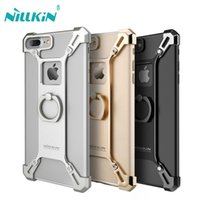 Wholesale Bumper Iphone Original - Original Nillkin Case For iPhone 7 7 Plus Protective Bumper Aluminum Frame Back Cover For iPhone 7 Plus with Ring Holder