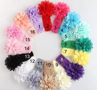 flores de crochet para faixas de bebê venda por atacado-2017 bebê Cabeça Headwear Flor Acessórios Para o Cabelo de 4 polegadas Chiffon flor com macio Elastic crochet headbands faixa de cabelo stretchy
