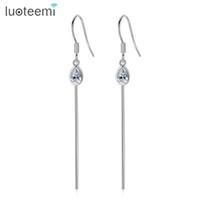 Wholesale Earring Bone Hook - New Arrival Long Fish Bone Style Hook Earrings Simple Waterdrop with Clear Cubic Zirconia For Women Girls Jewellry LUOTEEMI