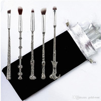 Wholesale Goat Handling - 5pc Makeup Brushes Metal brush handle High Quality Cosmetic Makeup Foundation Powder Blush Eyeliner Brushes.