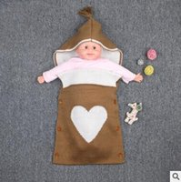 Wholesale Button Blanket - Large Size Summer Baby Sleeping Bags Sweet Heart Newborns Swaddle Bag Handmade Cotton Stroller Hoody Envelope Knit Blanket With Buttons