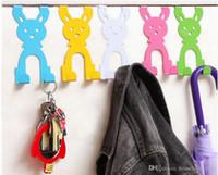 perchas de dibujos animados de animales al por mayor-Rabbit Hook Door Hanger Door Hangers para ropa de dibujos animados Creative Home Organizer Animal shape Hooks para bolsos Hat Rack