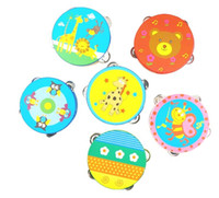 Wholesale Toy Wooden Tambourine - Baby Kids Wooden Drum Rattles Toy Tambourine Gift 6inch Hand Held Tambourine Drum Bell (Pattern Send Random)
