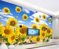 Wholesale sunflower stickers for wall for sale - Group buy Wallpaper Mural Wall Sticker Fresh Sunflower TV Wall Background papel de parede wallpaper for walls d