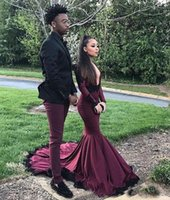 Wholesale Cut Out Back Evening Gowns - Sexy Burgundy Deep V Neck Long Sleeves Evening Dresses Mermaid Spandex Prom Gowns 2017 Cut Out Black Applique Vestido
