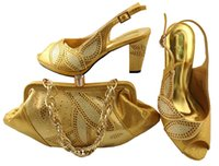 Wholesale Lady Shoes Bags - Most popular gold shoes match bags with rhinestones series african lady shoes and handbag set for dress MM1043,heel 8CM