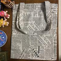 Wholesale Newspaper Print Bags - Wholesale- YILE Cotton Linen Shopping Tote Shoulder Carrying Bag Eco Reusable Bag Printed English Newspaper L170213