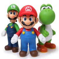 ingrosso figure di azione di qualità-PVC di alta qualità Super Mario Bros Luigi Youshi mario Action Figures Toy Gift 12cm 3pcs / Lot