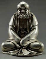green brass buddha statue 2018 - Collectible Old Handwork Silver Plate Copper Carve Bodhidharma Buddha Statue