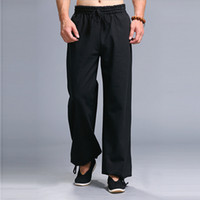 Wholesale men tai chi pants - Wholesale-Men Kung Fu Tai Chi Uniform Pantalon Homme Men's Casual Pants Elastic Waist Drawstring Straight Leg Trousers Pants