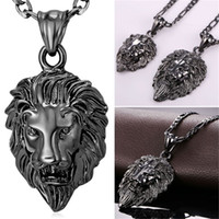 Wholesale Hip Hop Big Chains - U7 Hip Hop Jewelry Big Lion Head Pendant Necklace Figaro Chain for Men Kpop Gold Black Gun Plated Stainless Steel Statement Necklace P215
