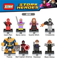 8PCS Building Blocks Mini Figures Bad Captain America Hawkeye Super Heroes Avengers Figures Briques Jouets Figurines d'action Marvel DC Black Widow
