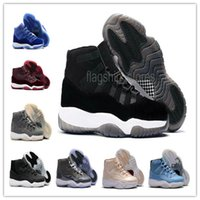 Wholesale Suede Gift Boxes - High Quality 2017 Retro 11 Mens Basketball Shoes with Shoe Box XI Black Royal Blue Velvet Cool Gray Burgundy Maroon Ultimate Gift of Flight